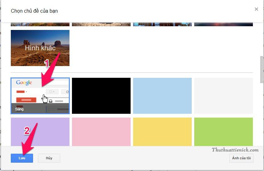 Để đặt lại giao diện mặc định cho Gmail, bạn chỉ cần quay lại phần Chủ đề và chọn giao diện Sáng