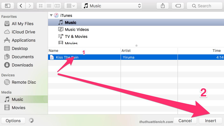 chọn nhạc trong PC-> insert