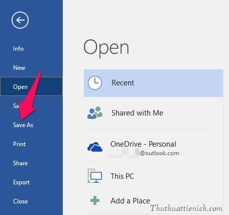 Chọn Save As trong menu bên trái sau đó chọn vị trí bạn muốn lưu file PDF xuất ra trên máy tính