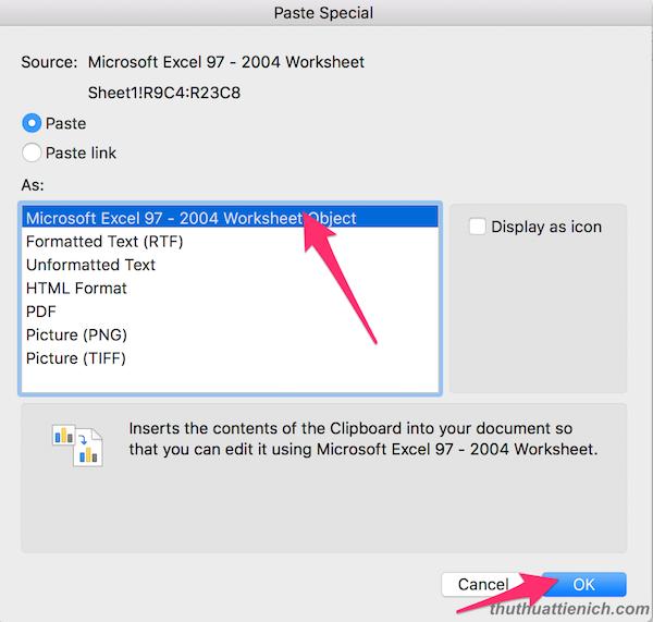nhấn chọn microsoft excel wordsheet