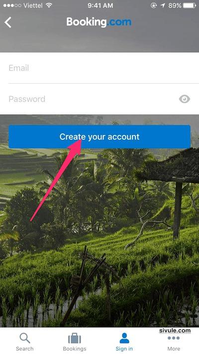 Nhập địa chỉ email (Email) và mật khẩu (Password) rồi nhấn nút Create your account