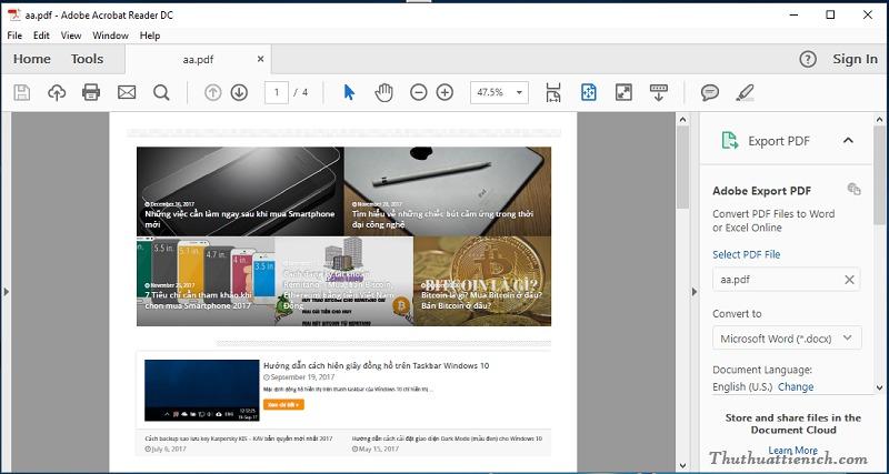 Giao diện Adobe Reader