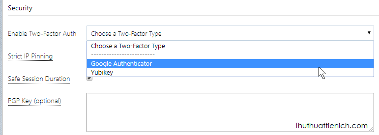Chọn ứng dụng xác nhận 2FA