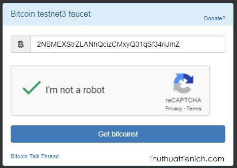 Nhập địa chỉ ví Bitmex Testnet của bạn rồi nhấn nút Get bitcoins
