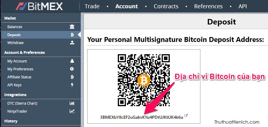 Giao diện nạp Bitcoin trên Bitmex