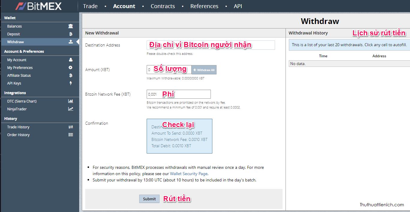 Giao diện rút Bitcoin trên Bitmex