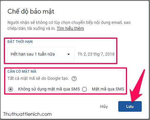 Thiết lập cho email bí mật