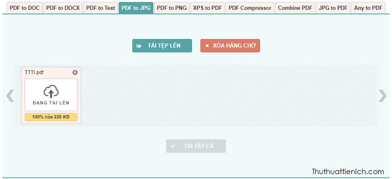Chờ chút để tệp PDF tải lên và chuyển đổi sang JPG (hoặc PNG)