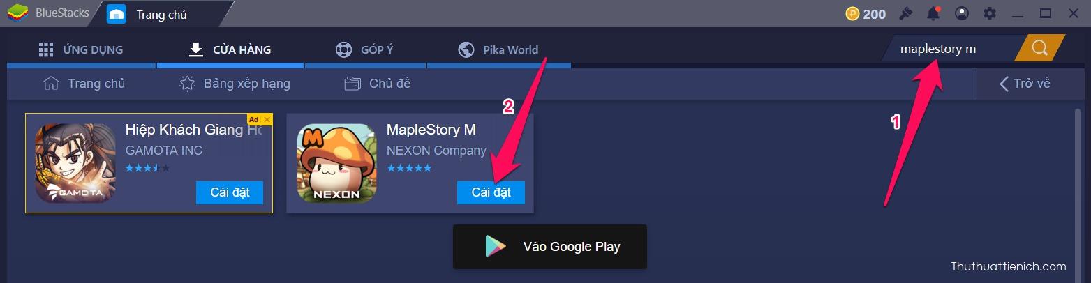 Tìm và cài đặt game Maplestory bằng khung tìm kiếm của BlueStacks