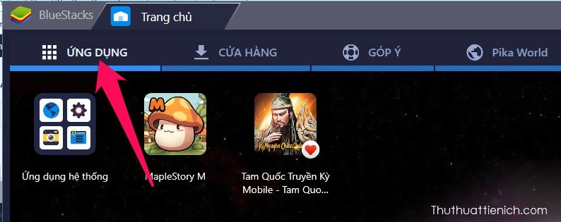 Sau khi cài đặt, bạn có thể tìm thấy game trong tab Ứng dụng