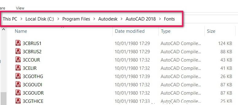 Sao chép font chữ vào thư mục Font trong thư mục cài đặt AutoCad