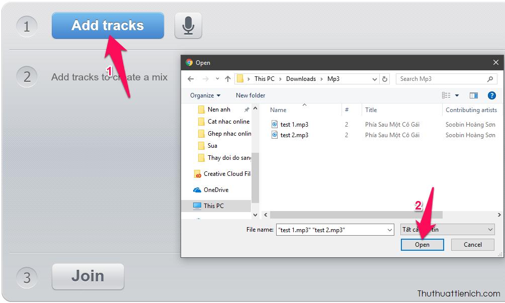 Nhấn nút Add tracks để thêm các đoạn nhạc bạn muốn ghép