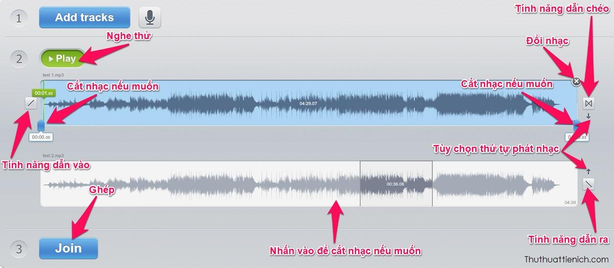 Tùy chỉnh các đoạn nhạc cần ghép rồi nhấn nút Join