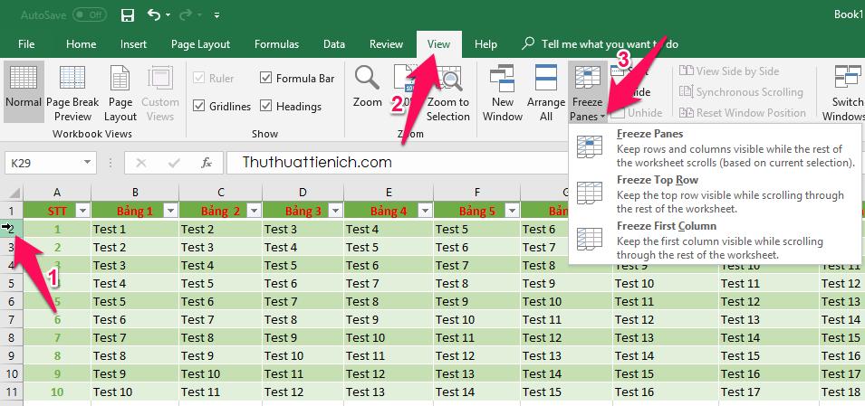 Cách cố định hàng trong Excel