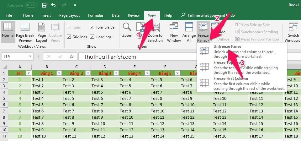 Cách bỏ cố định hàng, cột trong Excel
