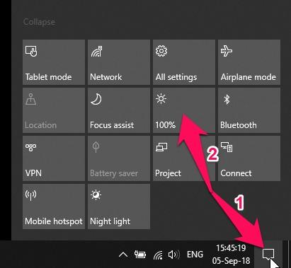 Tăng giảm độ sáng màn hình nhanh trên Windows 10