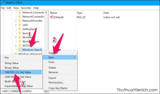 Nhấn chuột phải lên thư mục Windows Search chọn New ->DWORD (32-bit) Value. Đặt tên làAllowCortana