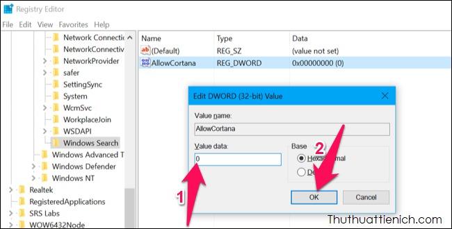 Nhấp đúp chuột vào giá trịAllowCortana vừa tạo, đổi giá trị trong khung Value data thành 0 rồi nhấn nút OK