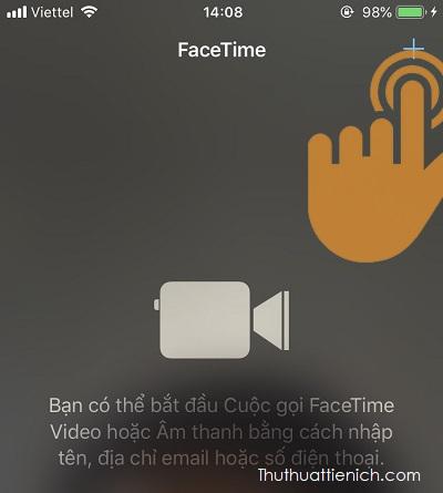 Nhấn nút + để tạo cuộc gọi Facetime mới