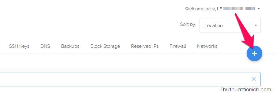 Nhấn nút dấu + trên cùng bên phải cửa sổ tài khoản Vultr để tạo VPN (Phần Server)