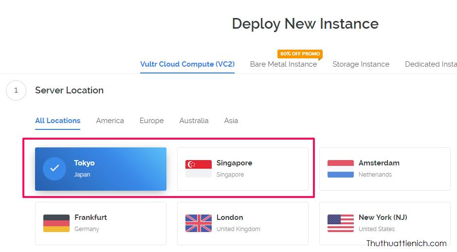 Chọn Sever cho VPN, ở đây chúng ta có 2 sever cho tốc độ kết nối từ Việt Nam tốt nhất đó là Tokyo và Singapore