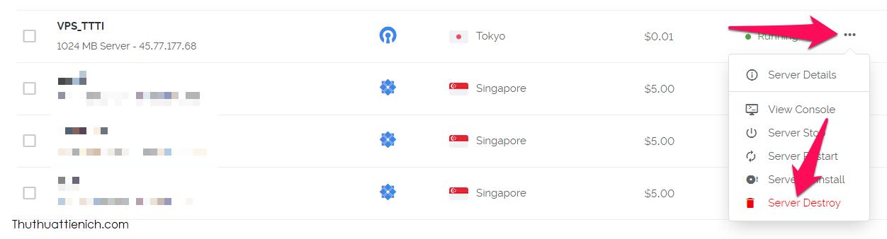 ếu muốn xóa VPN, bạn đăng nhập trang quản trị Vultr, nhấn nút ... bên phải Sever VPN chọn Server Destroy