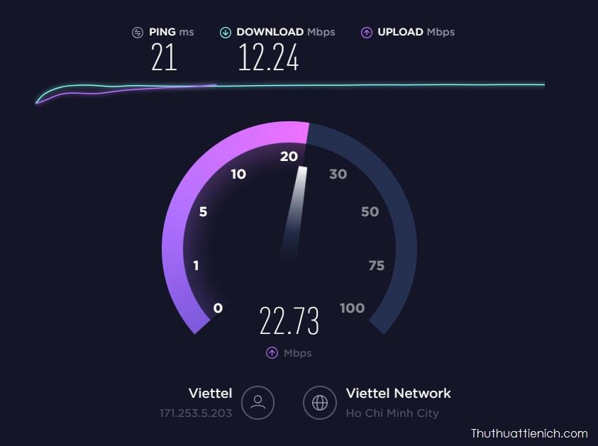 Đơn vị các công cụ kiểm tra tốc độ internet sử dụng là Mbps
