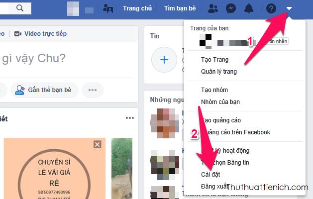 Nhấn nút∇ góc trên cùng bên phải cửa sổ Facebook chọn Cài đặt