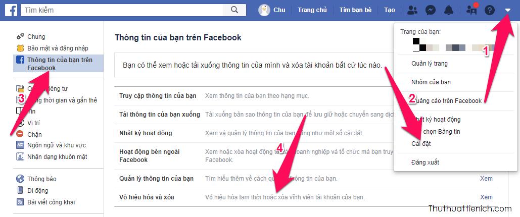 Vào Cài đặt → Thông tin của bạn trên Facebook → Vô hiệu hóa và xóa