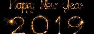 Ảnh bìa pháo hoa tạo hình chữ Happy New Year 2019