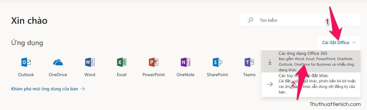 Bạn truy cập liên kết này để tải về Office:https://www.office.com. Nhấn nút Cài đặt Office -> Các ứng dụng Office 365