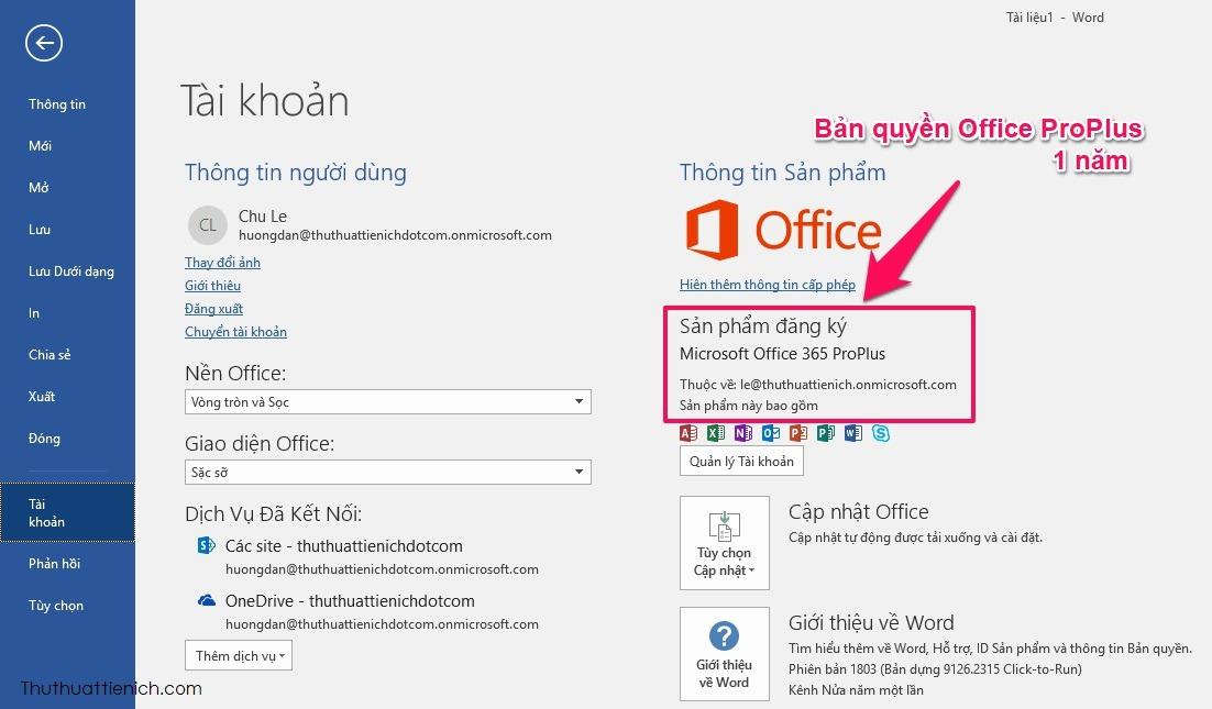 Kết quả là bạn đã sở hữu bộ Office 365 ProPlus với thời hạn 1 năm