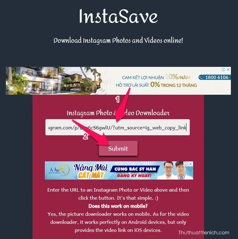 Dán link vừa sao chép ở bên trên vào khung bên dưới phần Instagram Photo & Video Downloader. Sau đó nhấn nút Submit