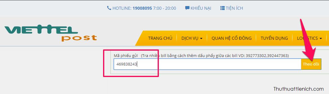 Truy cập trang web tra cứu vận đơn của Viettel Post tại địa chỉ này. Nhập mã phiếu gửi rồi nhấn nút Theo dõi