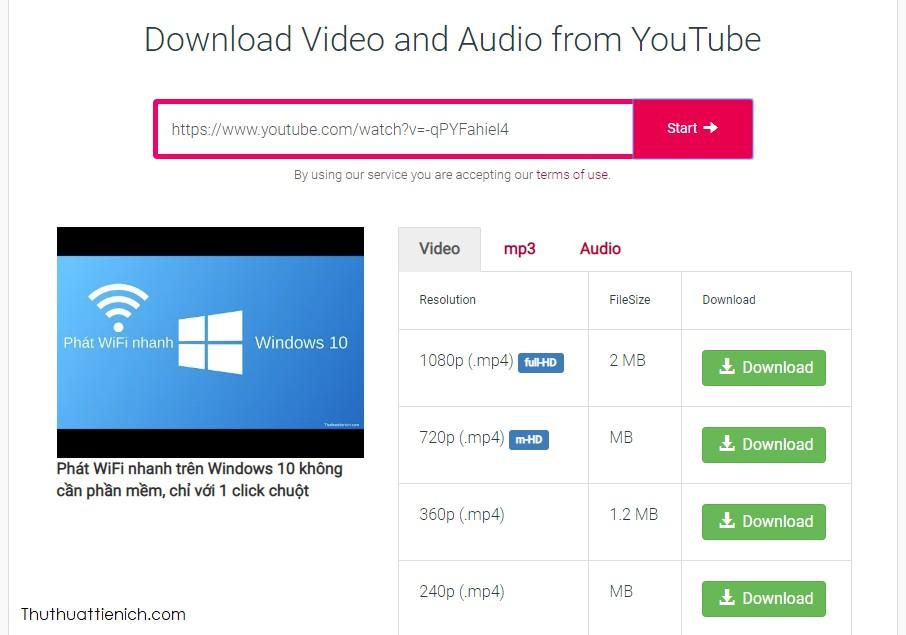Chọn định dạng video rồi nhấn nút Download