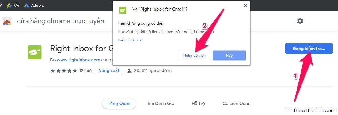 Cài đặt tiện ích mở rộng Right Inbox for Gmail