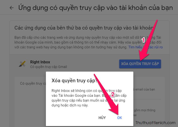 Đừng quên xóa quyền truy cập của Right Inbox vào tài khoản Gmail