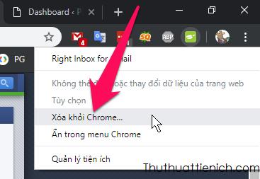 Xóa tiện ích bằng cách nhấn chuột phải lên biểu tượng của tiện ích chọn Xóa khỏi Chrome...