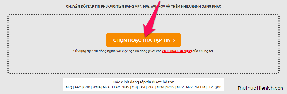 Nhấn nút Chọn hoặc Thả tập tin để chọn video muốn tải lên chuyển đổi