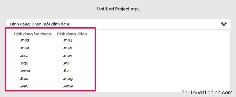 Bạn có thể chuyển qua định dạng âm thanh hoặc video