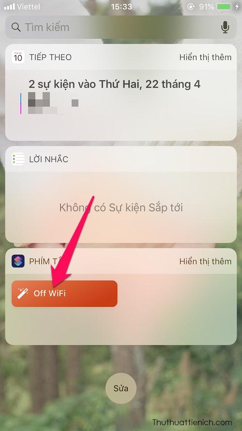 Lúc này tiện ích Phím tắt sẽ xuất hiện nút tắt WiFi hoàn toàn bạn vừa thêm ở trên