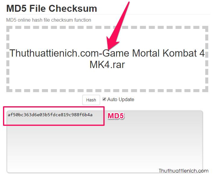 Nhấn nút Drop file here để chọn file muốn check MD5 trên máy tính, sau khi chọn EMN178 sẽ tự động check và mã MD5 sẽ xuất hiện ở khung bên dưới
