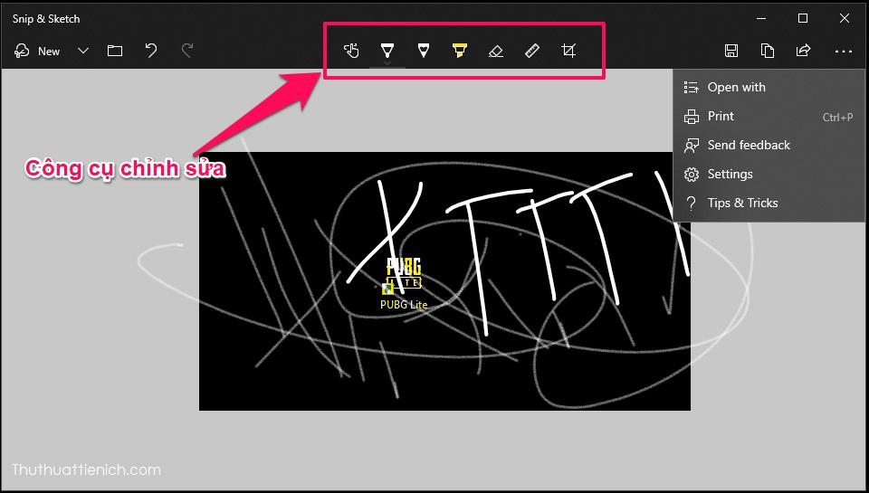 Snip & Sketch có nhiều công cụ chỉnh sửa như: cắt, viết, vẽ, xóa, thước