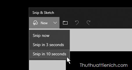 Snip & Sketch cũng có tính năng hẹn giờ chụp ảnh màn hình như trên Snipping Tool với 2 tùy chọn là 3 giây và 10 giây