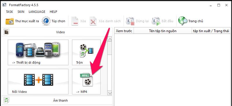 Nhấn chọn Video → MP4 trong menu bên trái