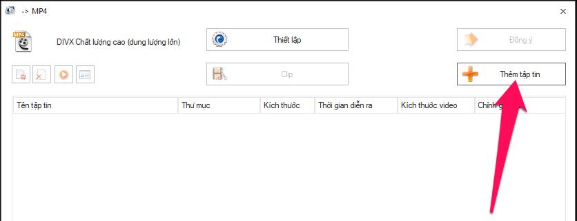 Nhấn nút Thêm tập tin rồi chọn video muốn cắt trên máy tính của bạn