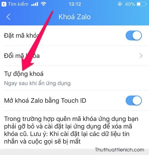 Trong phần khóa Zalo này, bạn có thể đặt, thay đổi, tùy chọn khóa và bật/tắt mở khóa bằng Touch ID