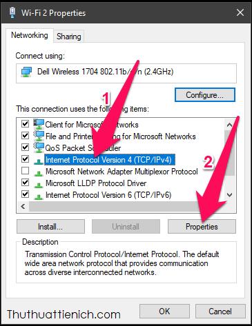 Trên Windows 10/8/7: Nhấn chọn Internet Protocol version 4(TCP/IPv4) rồi nhấn nút Properties