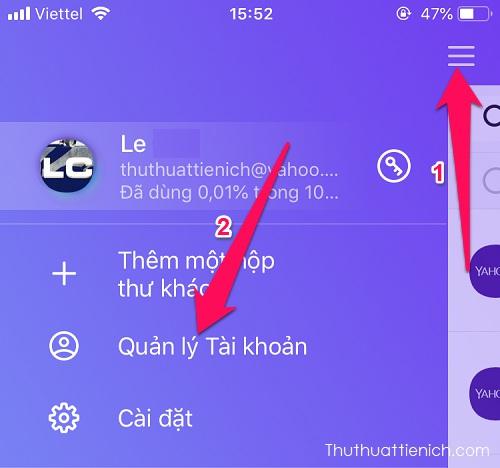 Nhấn nút menu trong ứng dụng Yahoo mail chọn Quản lý Tài khoản