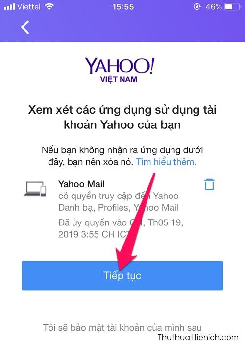 Xem xét các ứng dụng sử dụng tài khoản Yahoo